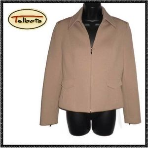TALBOTS Jacket 8 Tan ZIPPER DETAIL Beige CAREER